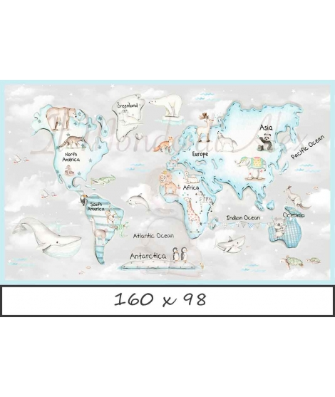 WORLD MAP BLUE Grey Background Poster self - adhesive
