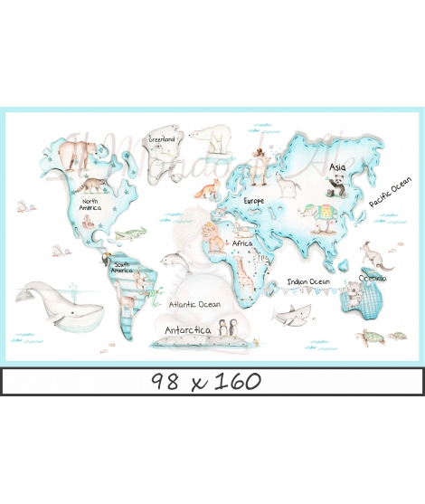 WORLD MAP BLUE Poster self - adhesive