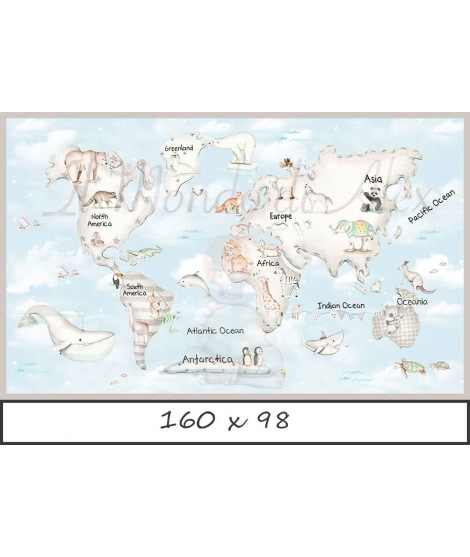 WORLD MAP GREY Blue Background Poster self - adhesive