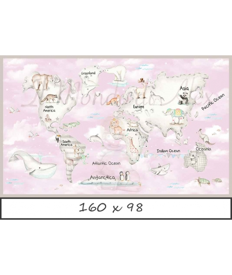 WORLD MAP GREY Pink Background Poster self - adhesive