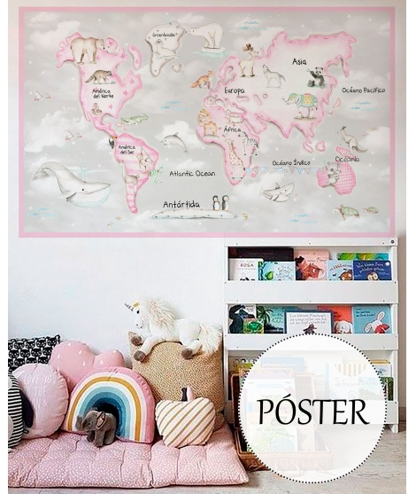WORLD MAP PINK Grey Background Poster self - adhesive