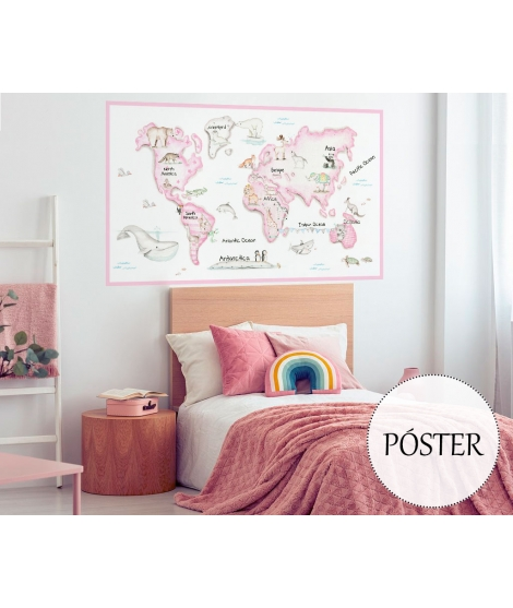 WORLD MAP PINK Poster self - adhesive