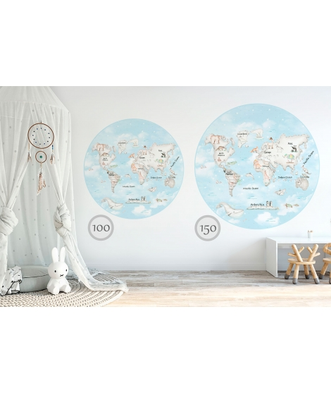 WORLD MAP GREY Blue Background Vinyl Magical Windows