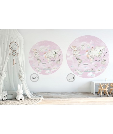 WORLD MAP GREY Pink Background Vinyl Magical Windows