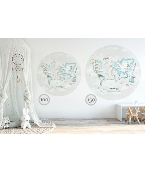 WORLD MAP BLUE Grey Background Vinyl magical windows