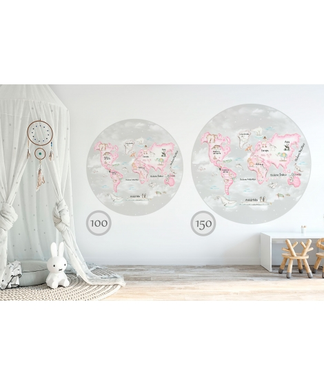 WORLD MAP PINK Grey Background Vinyl magical windows