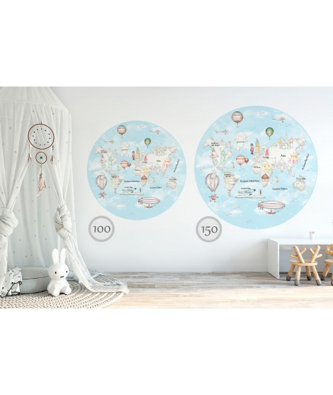 WORLD MAP TRAVEL GREY Blue Background Vinyl Magical Windows