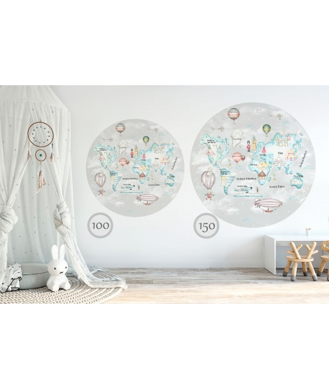 WORLD MAP TRAVEL BLUE Grey Background Vinyl Magical Windows