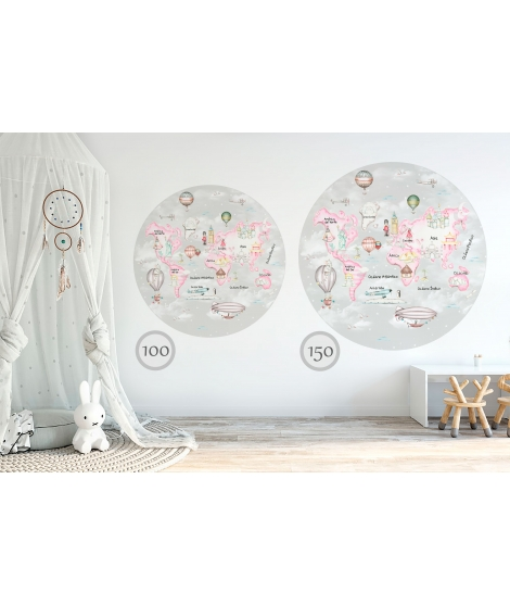WORLD MAP TRAVEL PINK Grey Background Vinyl Magical Windows