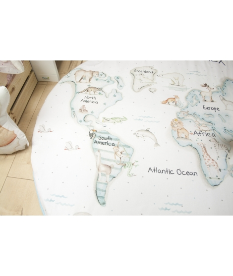 """World map blue"" Rug"