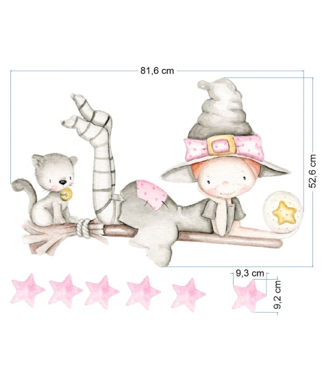 "OUTLET -  Wall Sticker ""Witch pink"""