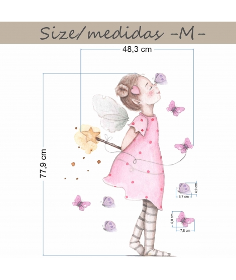 "Personalised Wall Sticker ""Fairy with butterflies"""