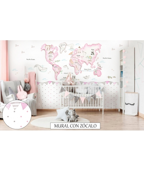 WORLD MAP PINK Wallpaper Graffiti