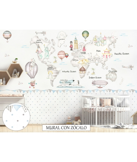 "Personalised Mural ""Travel world map grey"""