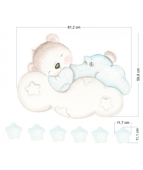 LITTLE BEAR BLUE IN THE CLOUD Adhesive Vinyl