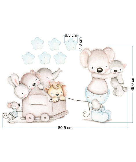 "OUTLET -  Wall Sticker  ""Little mouse blue with toy car"""