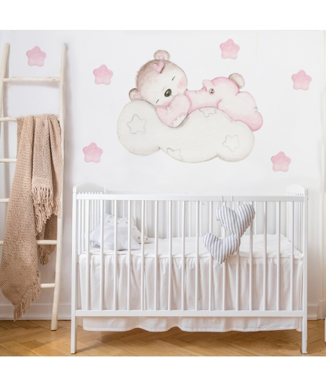 "OUTLET - Wall Sticker  ""Little bear on pink cloud"""