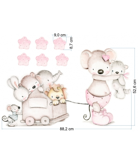 "OUTLET -  Wall Sticker  ""Little mouse pink with toy car"""