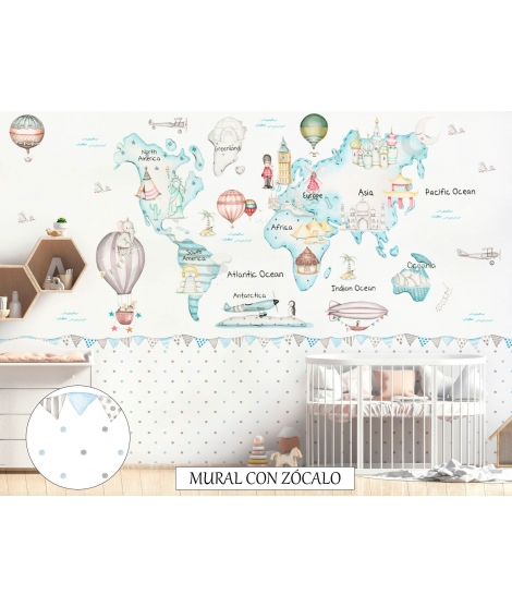 WORLD MAP TRAVEL BLUE Wallpaper Graffiti