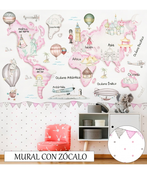 WORLD MAP TRAVEL PINK. Wallpaper graffiti