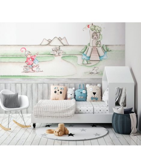 "copy of OUTLET -  Wall Painting ""Dreamy wicth pink"""