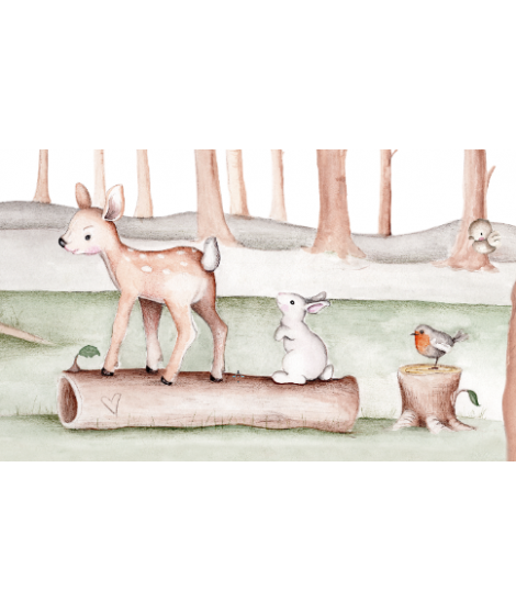 "OUTLET - Wall Painting ""Bambi and the enchanted forest"""