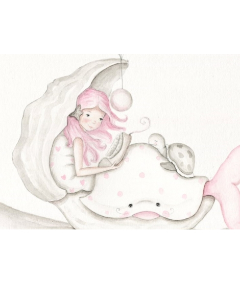 "OUTLET -  Wall Painting ""Pink mermaid"""