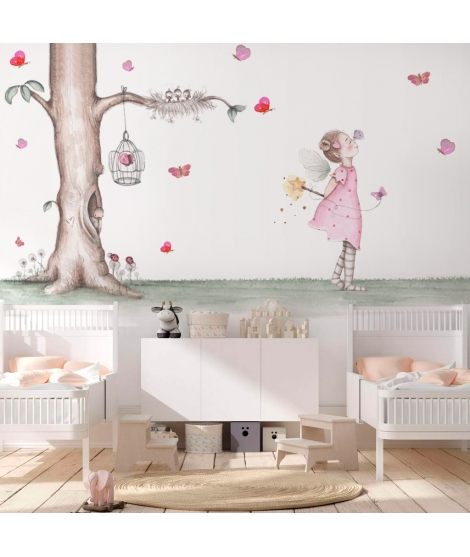 "Personalised Wall Painting ""Fairy with Butterflies"""
