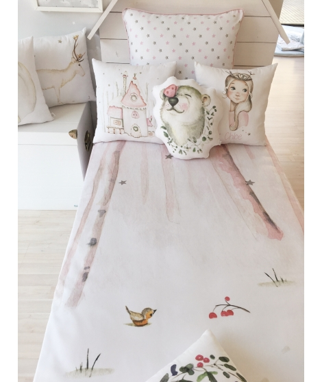 "Personalised Cot/Bed ""FAIRY WITH BIRDS"""