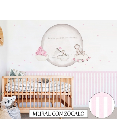 "Personalised Wall Painting ""Looking for stars Pink"""