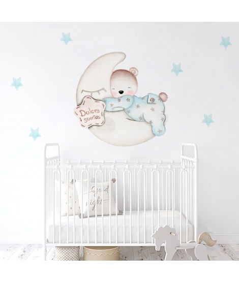 SWEET DREAMS BABY BEAR BLUE Personalized Adhesive Vinyl
