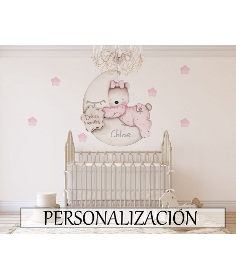 "Personalised Wall Sticker ""Little bear sweet dreams pink"""