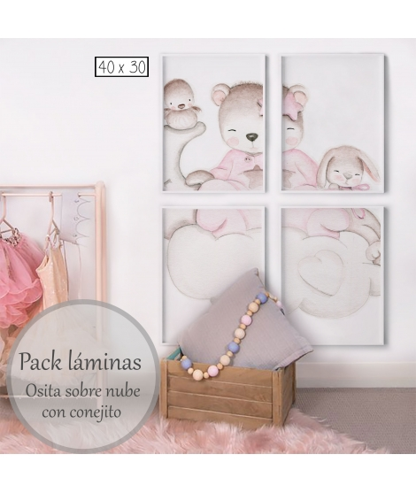 LITTLE BEAR PINK IN THE CLOUDS WITH BUNNY Personalized Pack of Prints