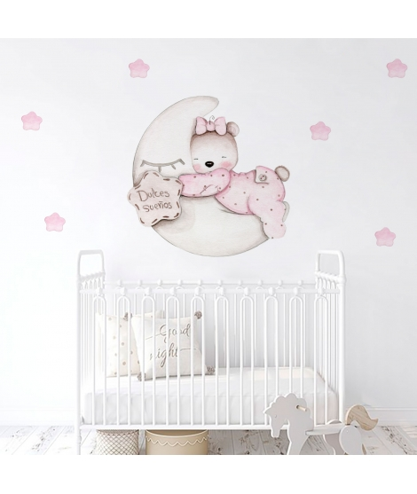 SWEET DREAMS BABY BEAR PINK Personalized Adhesive Vinyl