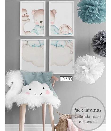 LITTLE BEAR BLUE IN THE CLOUDS WITH BUNNY Personalized Pack of Prints