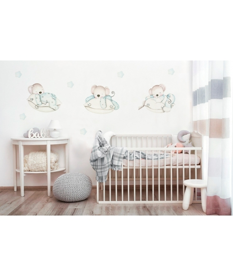 "Personalised Wall Sticker ""Little mice on pillows blue"""