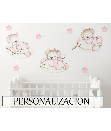 MICE PINK ON THE PILLOWS Personalized Adhesive Vinyl