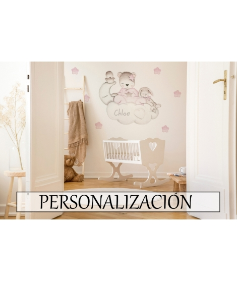 "Personalised Wall Sticker  ""Little bear on cloud with little bunny pink"""
