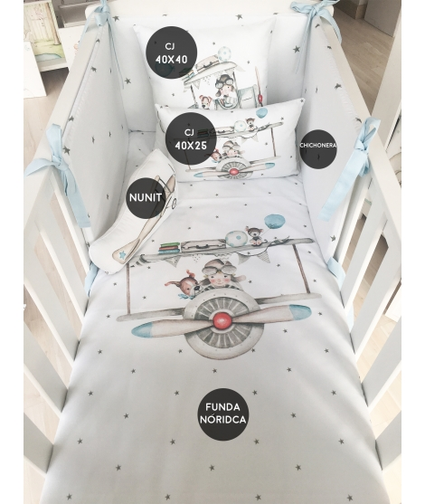 "Cot/bed set ""Furrowing the sky"""