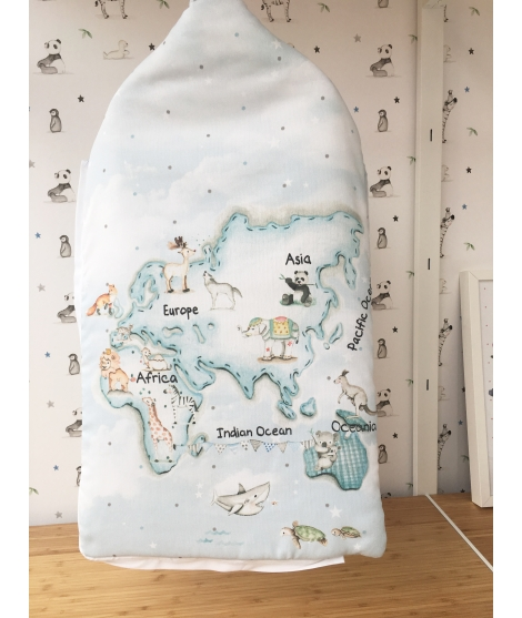 "Sleep sack ""Blue world map"""