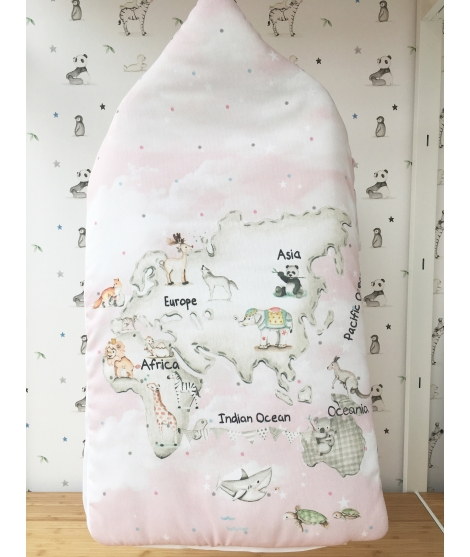 "Sleep sack ""Pink world map"""