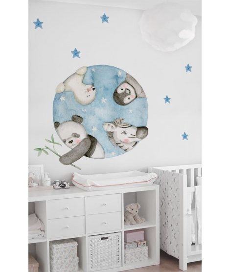 "Vinilo infantil personalizado ""Animals black and white"""