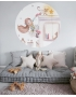 "Personalised Wall Sticker ""LITTLE BEAR PINK ON CLOUD WITH LITTLE BUNNY"""