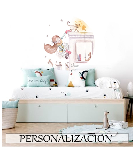 """Personalised Wall Sticker """"Little bear on cloud with little bunny pink"""" -"""