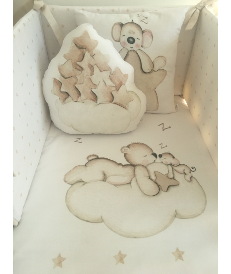 CLOUD WITH BROWN STARS Pillow Nunit