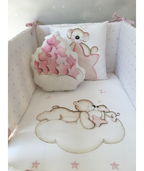 CLOUD WITH PINK STARS Pillow Nunit