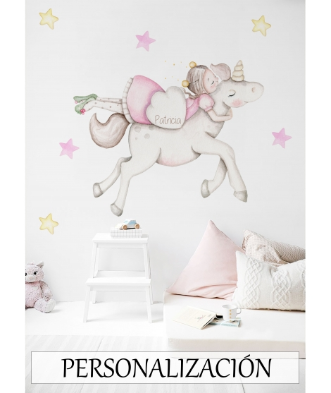"Personalised Wall Sticker ""Firefly on unicorn"""