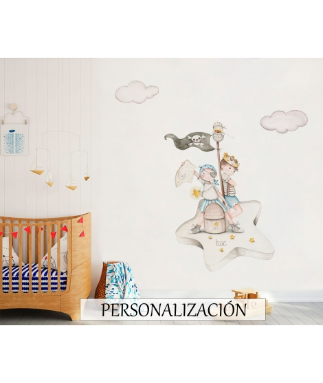 "Personalised Wall Sticker ""Pirates Looking For Treasure"""