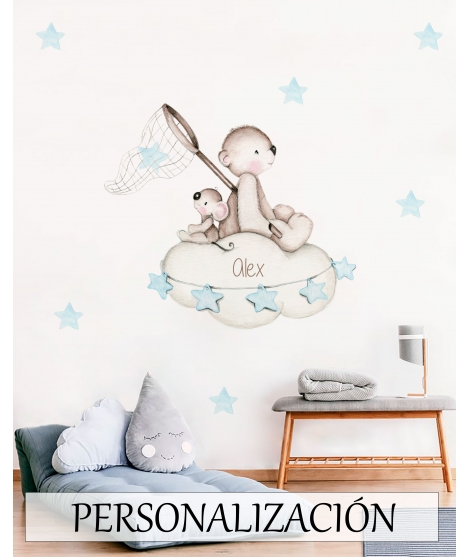 "Personalised Wall Sticker ""Looking for stars Blue"""