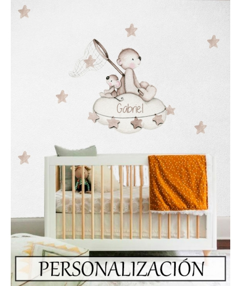 "Personalised Wall Sticker ""Looking for stars Brown"""